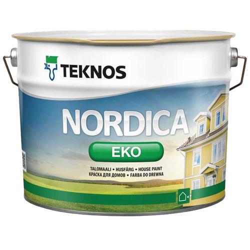Краска по деревянной не бревенчатой наружной поверхности акриловая — Текнос Нордика Эко (Teknos Nordica Eko)